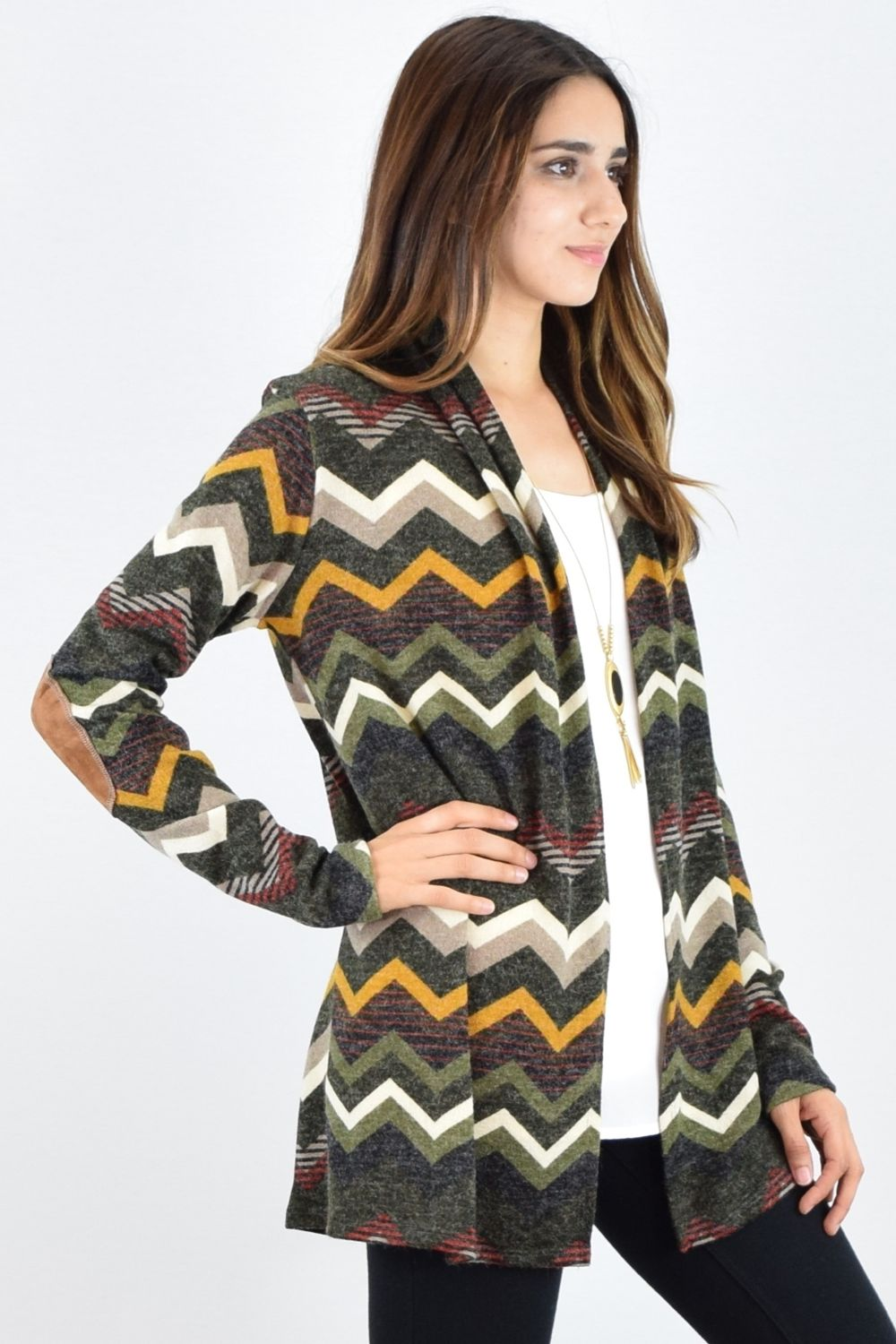 Olive & Mustard Zig Zag Elbow Patch Cardigan