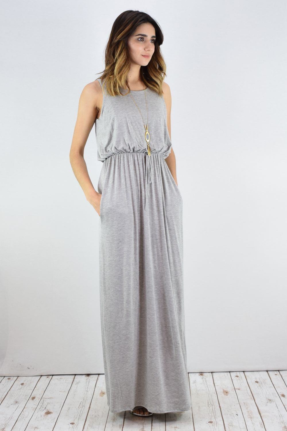 Solid Grey Sleeveless Blouson Maxi Dress