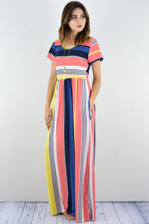 Coral & Lemon Stripe Short Sleeve Maxi Dress