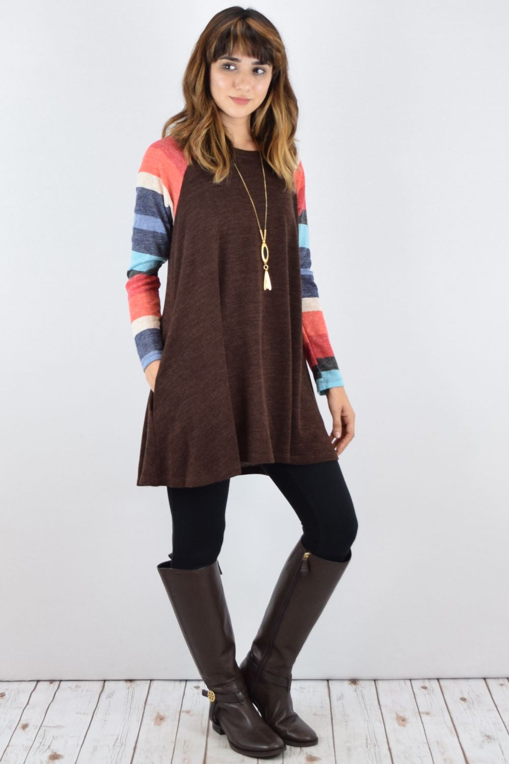 Brown Multi-Color Sleeve A Line Tunic