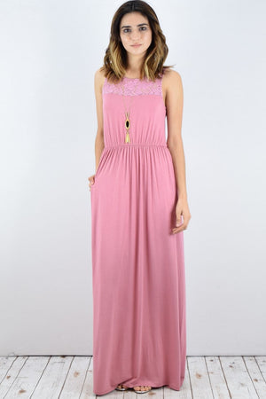 Pink Lace Illusion Neck-line Maxi Dress