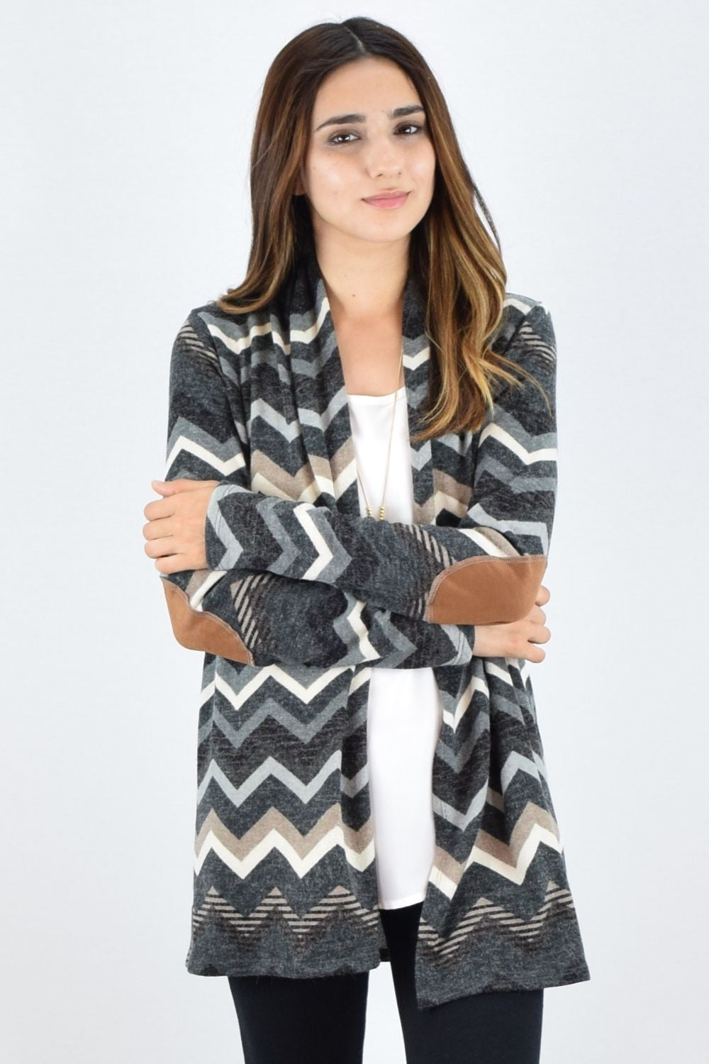 Charcoal Zig Zag Elbow Patch Cardigan