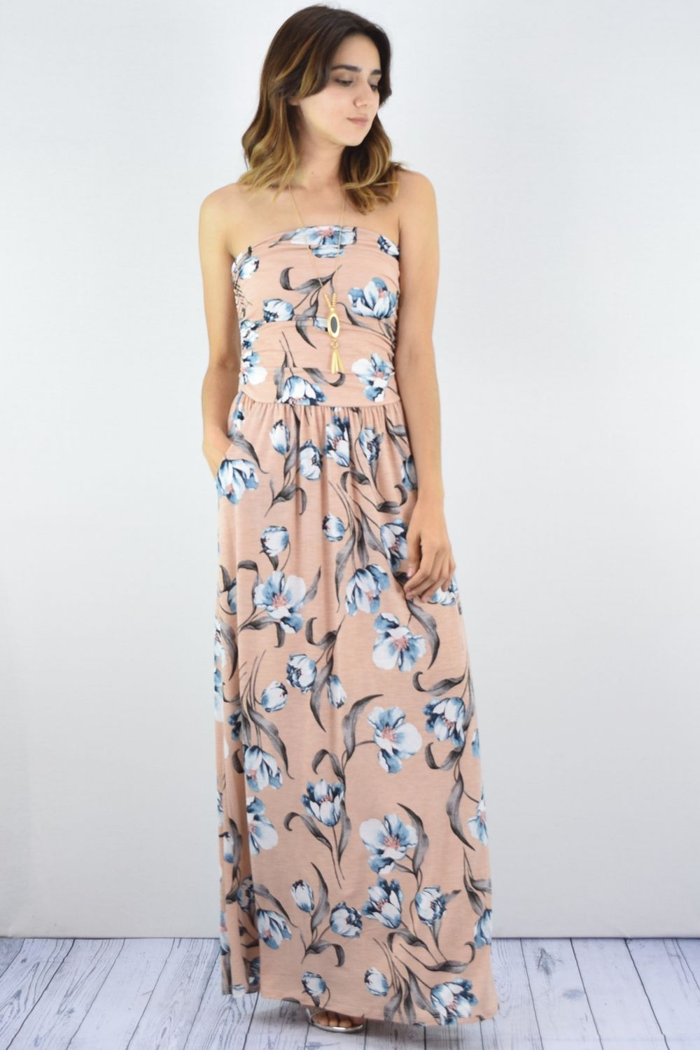Pink Floral Tube Top Maxi Dress