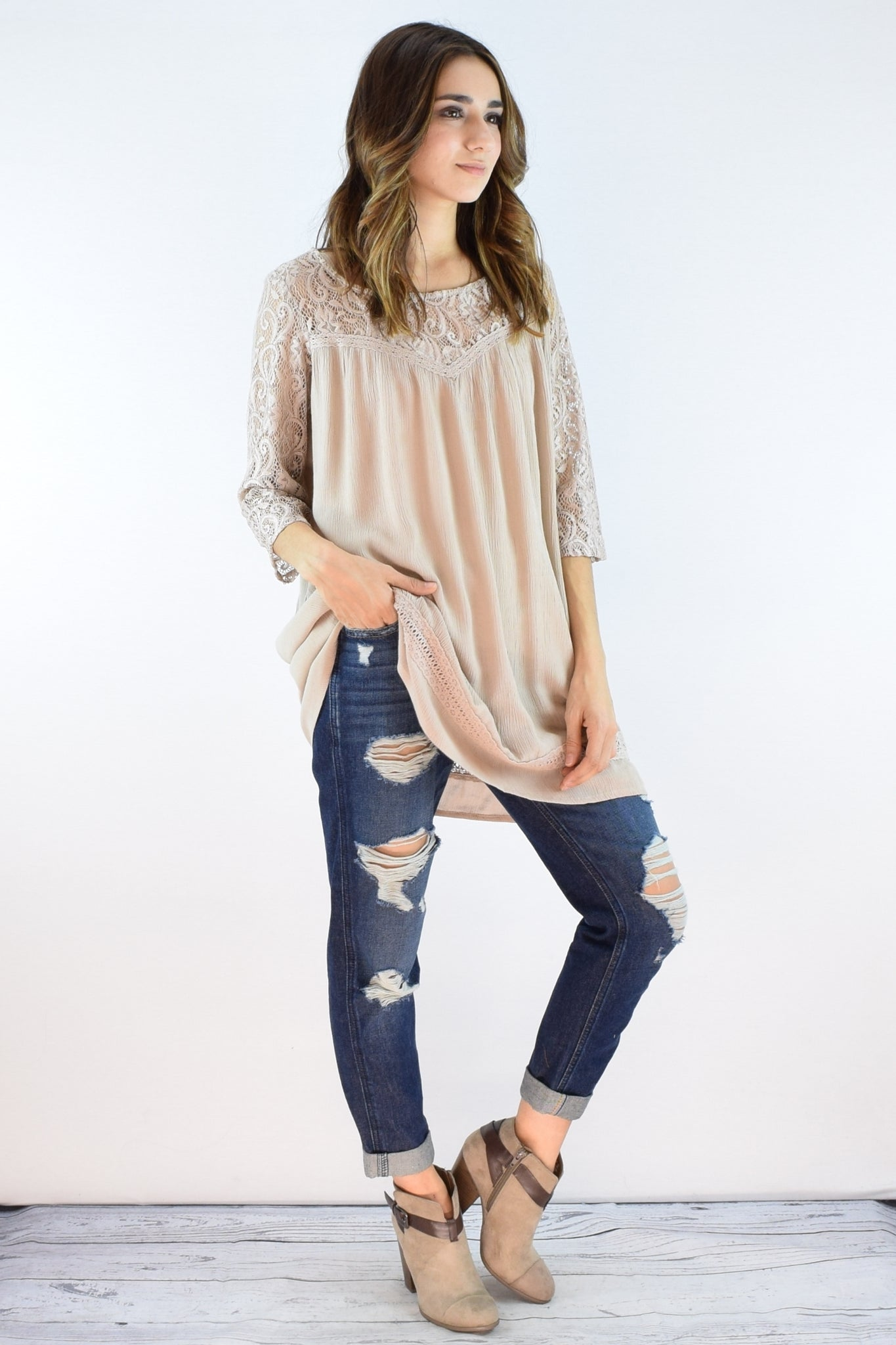 Taupe Lace 3/4 Sleeve Tunic