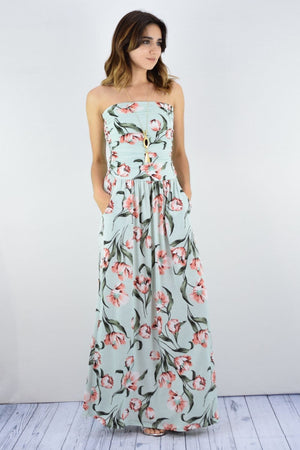Mint Floral Tube Top Maxi Dress