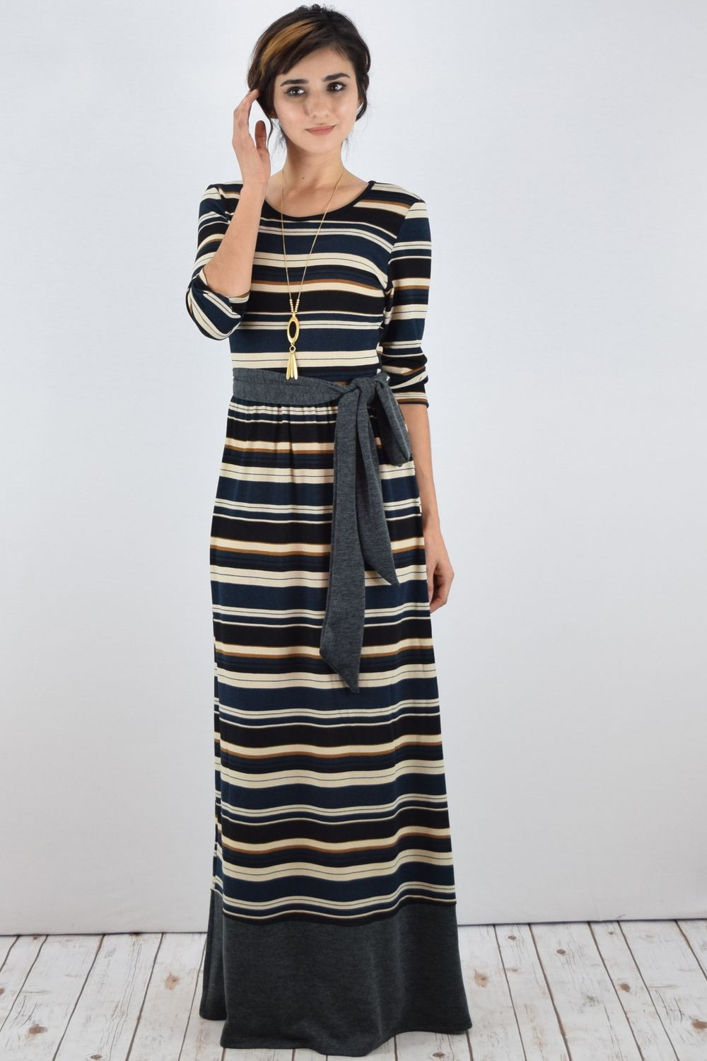 Teal Stripe knit Maxi Dress with Sash_S