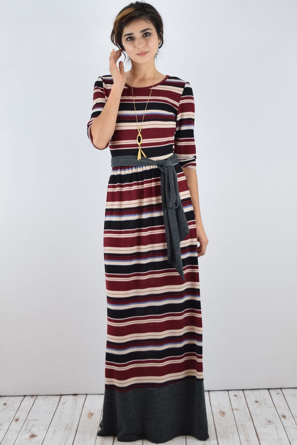 Burgundy Stripe knit Maxi Dress with Sash