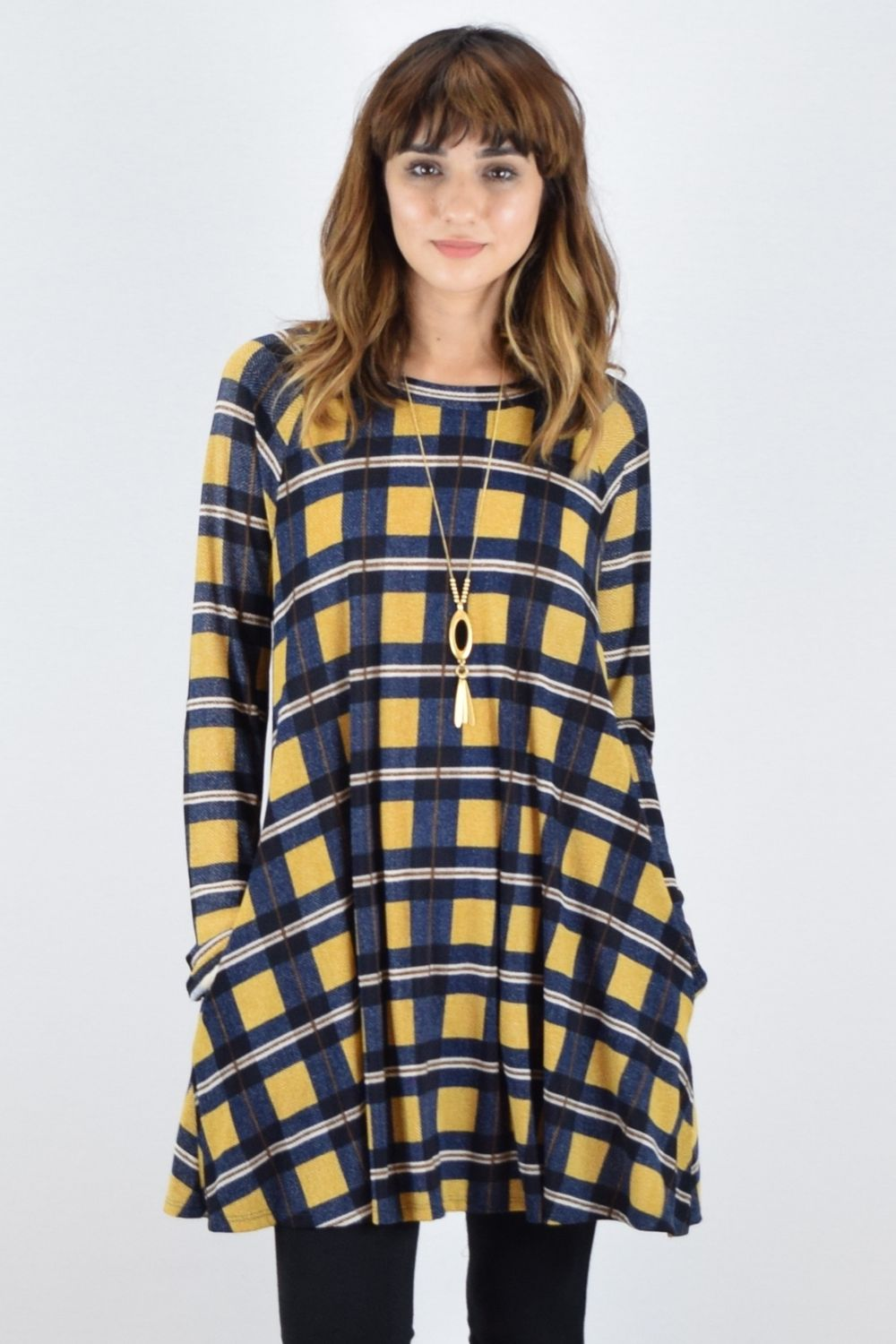 Navy Mustard Plaid A Line Dress_M