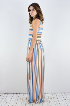 Pink & Blue Stripe Sleeveless Maxi Dress