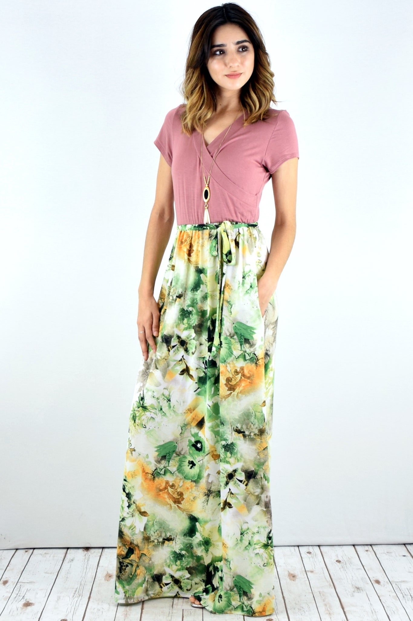 Dust Pink Surplice Green Floral Sash Maxi Dress