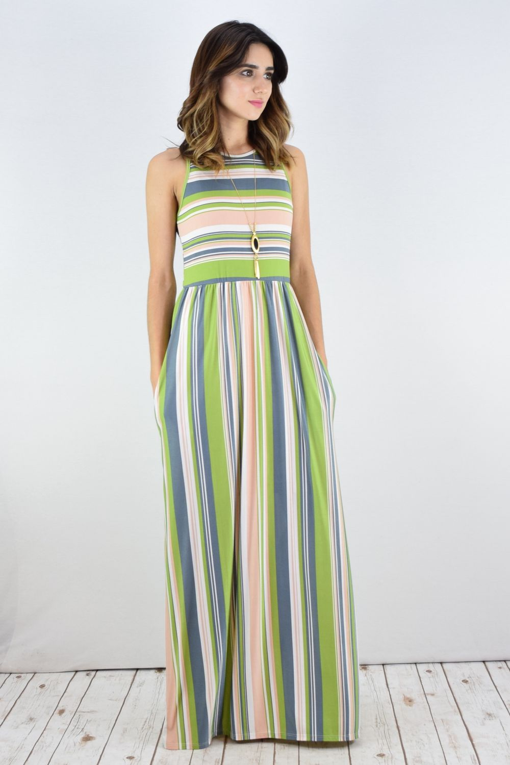 Sage & Peach Stripe Sleeveless Maxi Dress