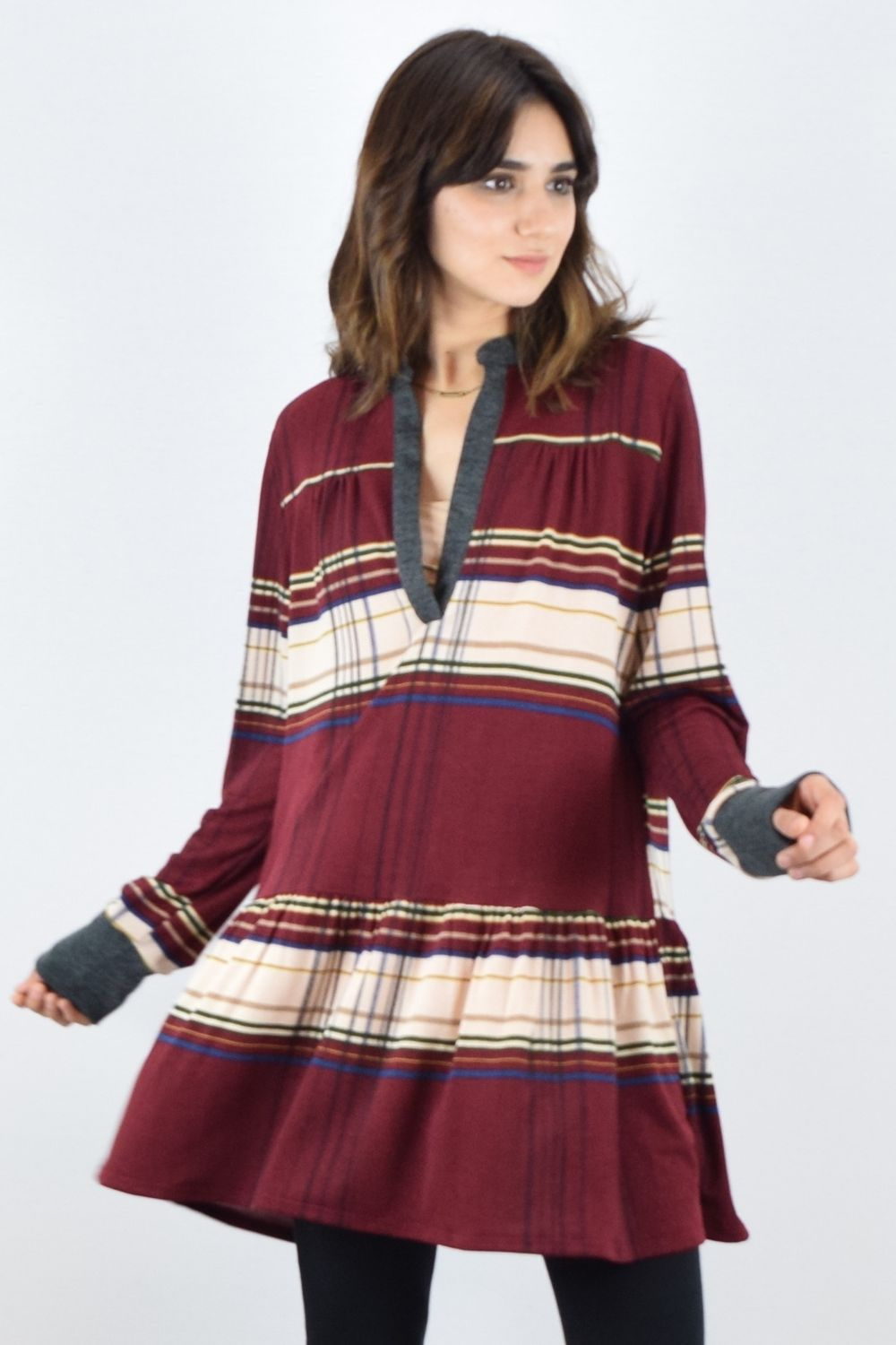 Burgundy Plaid Notch Neck Ruffle Trim Tunic Dress