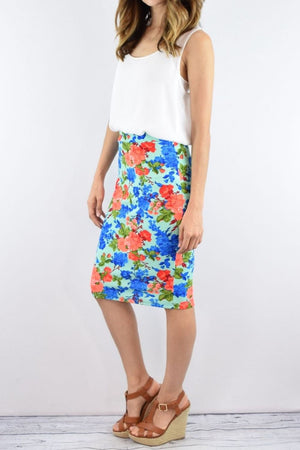 Mint & Coral Floral Skirt