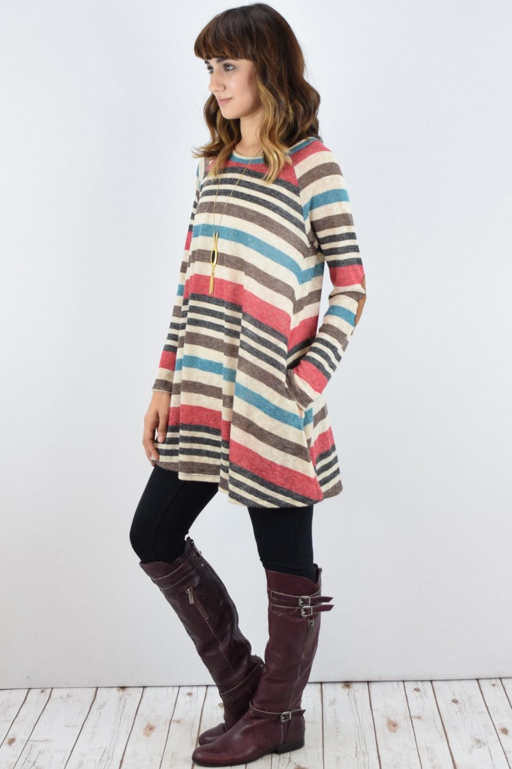 Black & Red Stripe Long Sleeve A-Line Tunic with Elbow Patch