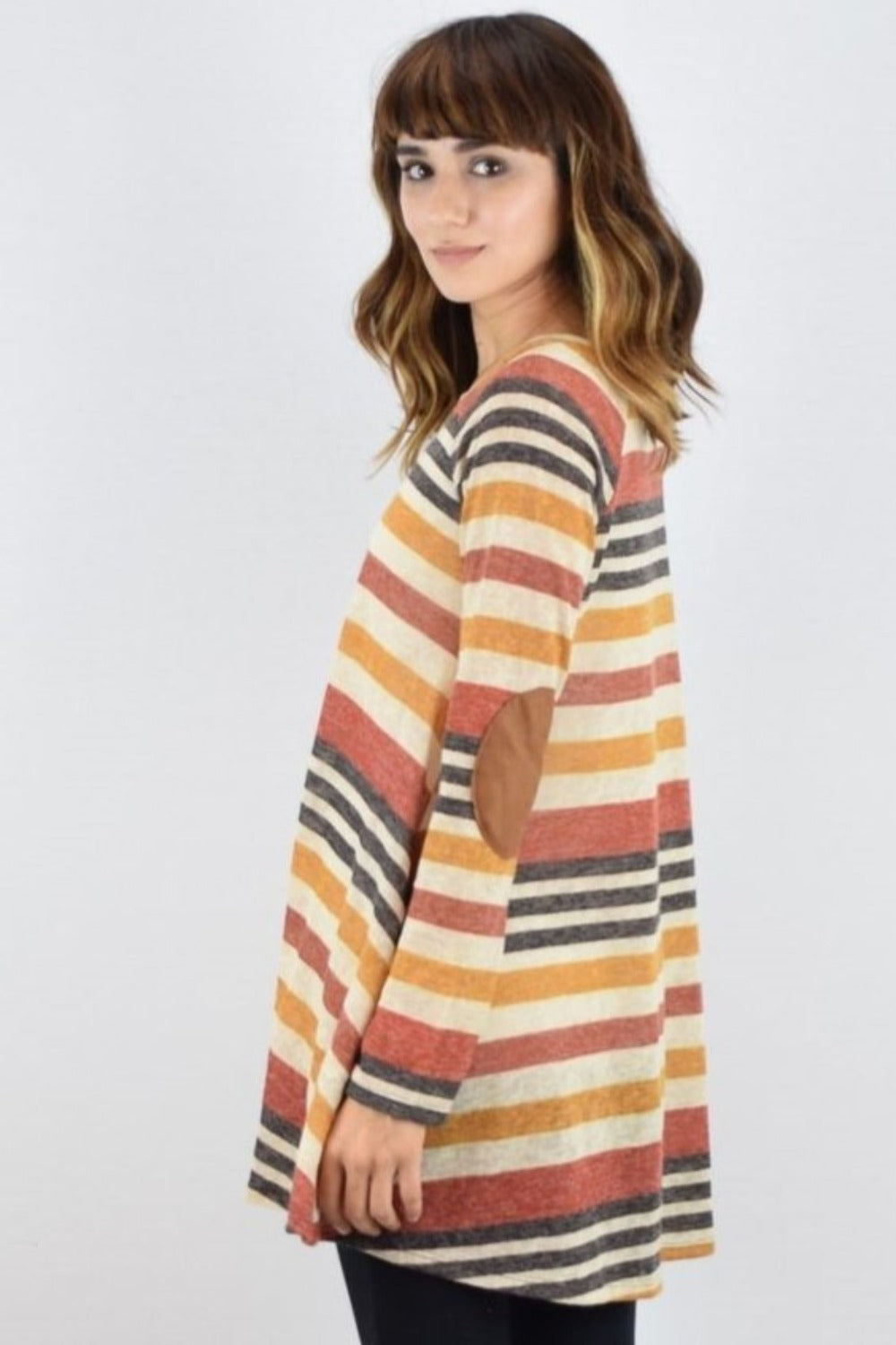 Orange & Brown Stripe Long Sleeve A-Line Tunic with Elbow Patch