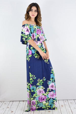 Navy Floral Off Shoulder Ruffle Maxi Dress