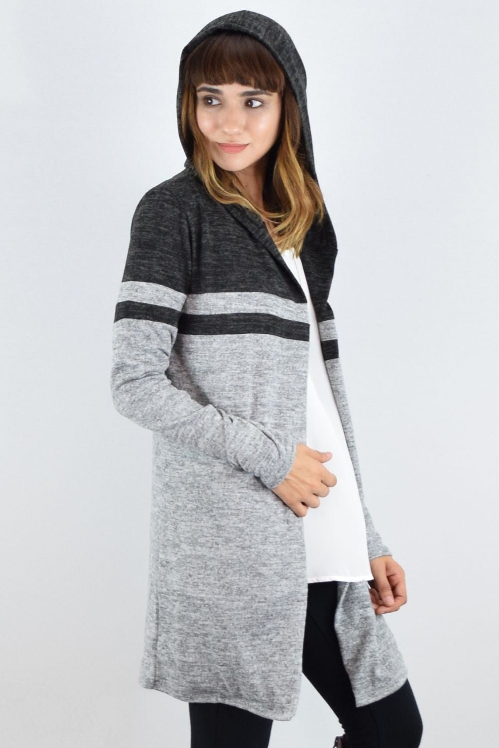 Grey & Charcoal Two Tone Hooded Cardigan with Pockets
