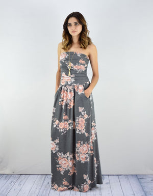 Vintage Charcoal Floral Tube Top Maxi Dress