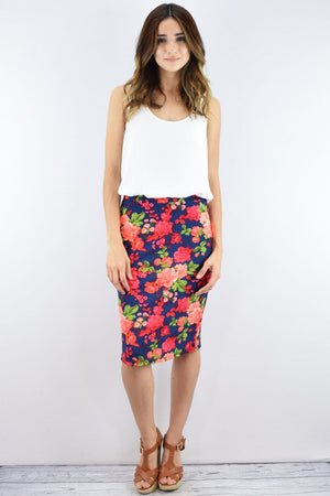 Navy & Coral Floral Skirt