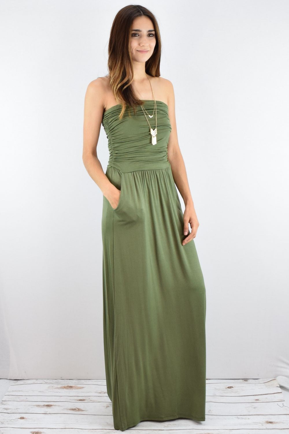 Solid Olive Tube Top Maxi Dress