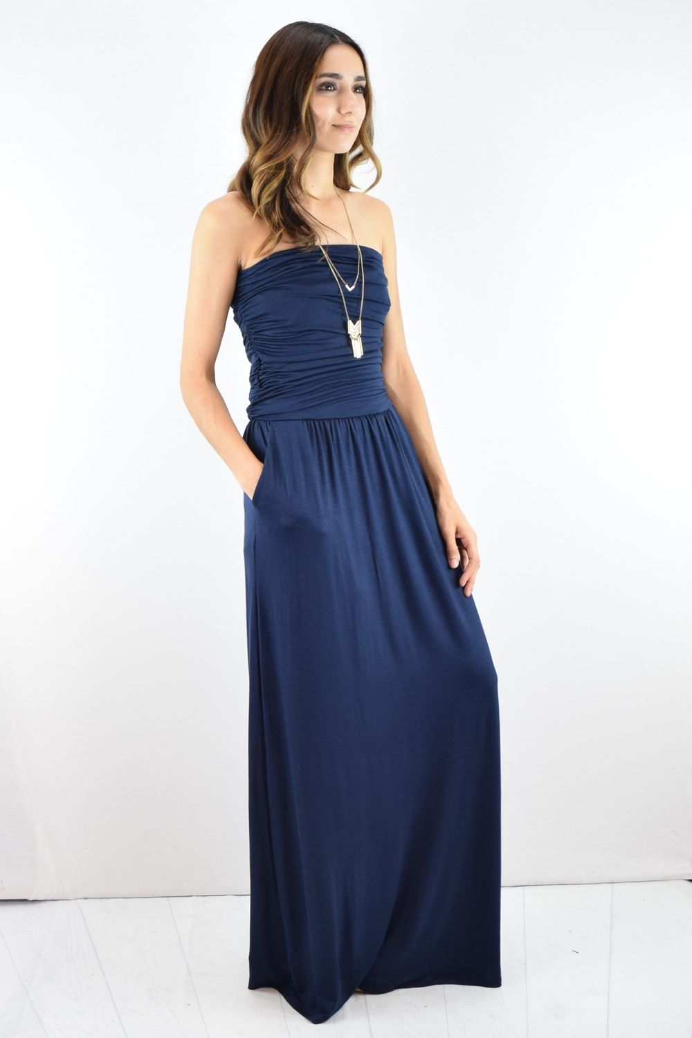 Solid Navy Tube Top Maxi Dress