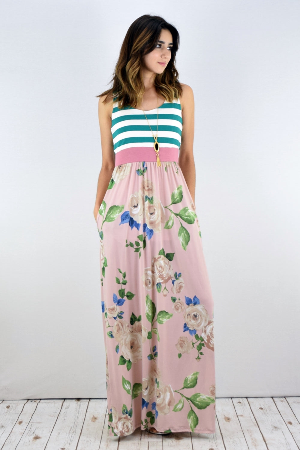 Green Stripe Peach Rose Maxi Dress