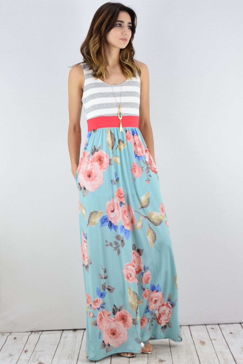Grey Stripe Coral Band Mint Floral Maxi Dress