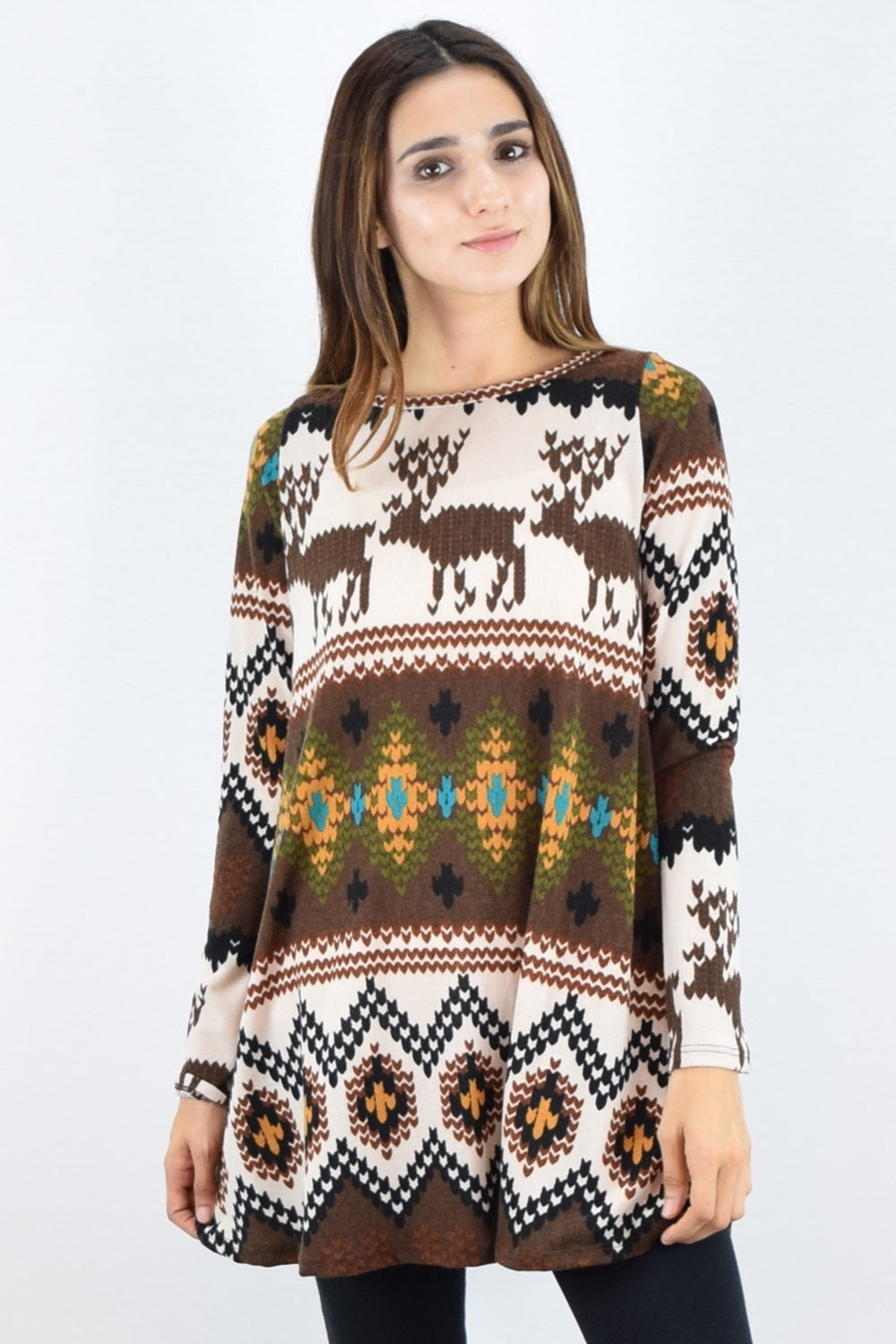 Brown Reindeer Print Long Sleeve Tunic