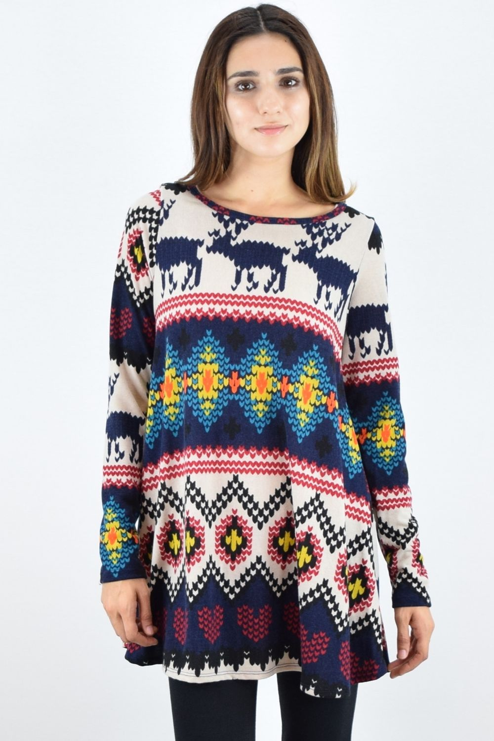 Reindeer Print Long Sleeve Tunic
