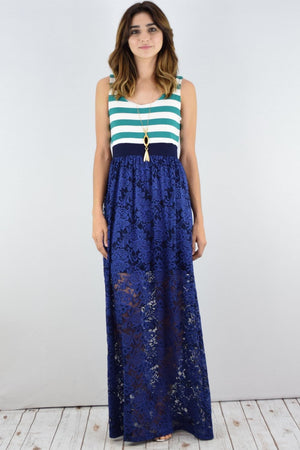Green Stripe Navy Lace Maxi Dress