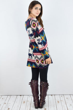 Navy Reindeer Print Long Sleeve Tunic