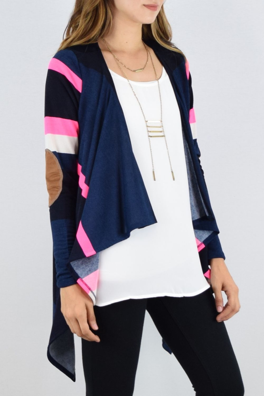 Navy & Neon Pink Stripe Drape Open Cardigan with Elbow Patch