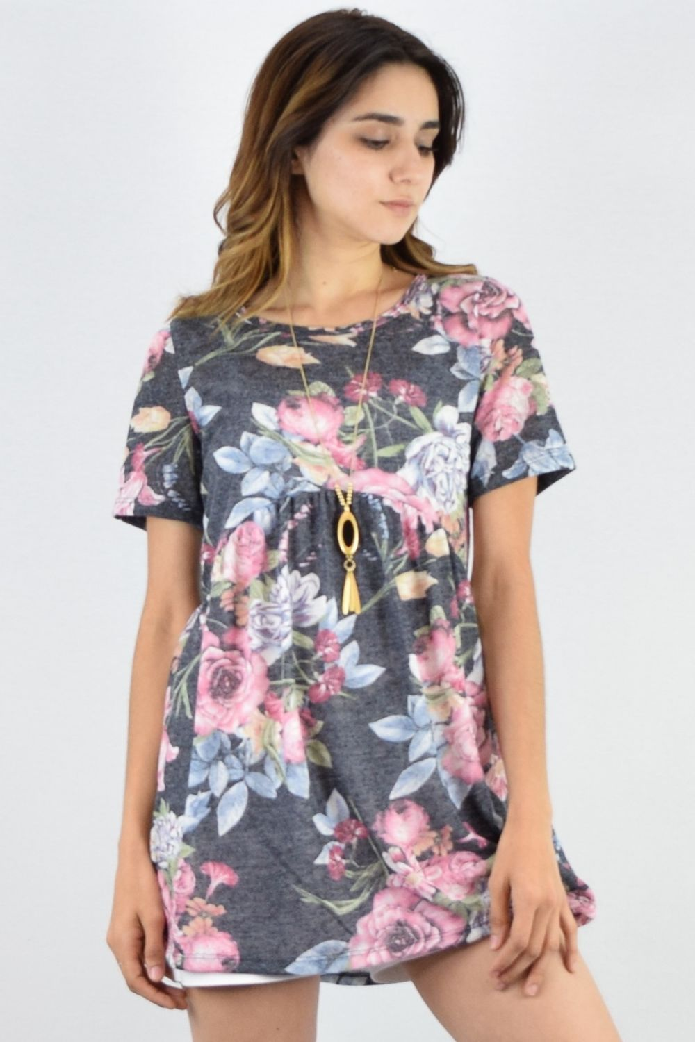 Charcoal Floral High Waist Short Sleeve Tunic