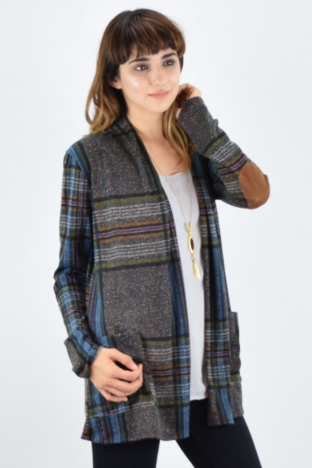 Charcoal & Multi Color Plaid Elbow Patch Cardigan With Pockets_S