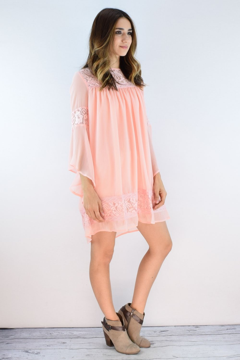 Pink Chiffon Angel Sleeve Mini Dress with Lace