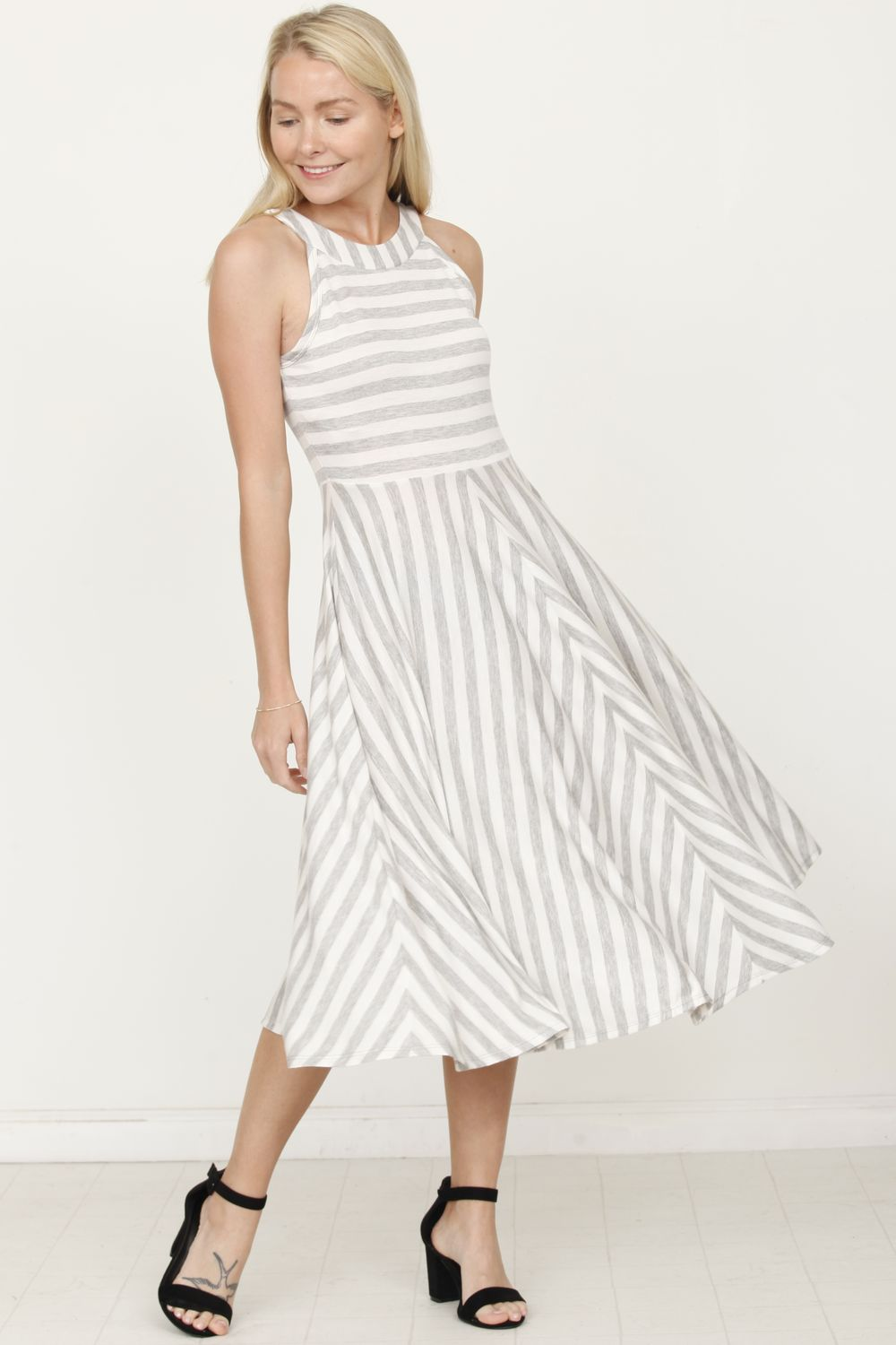 Grey Stripe Halter Midi Dress_Plus
