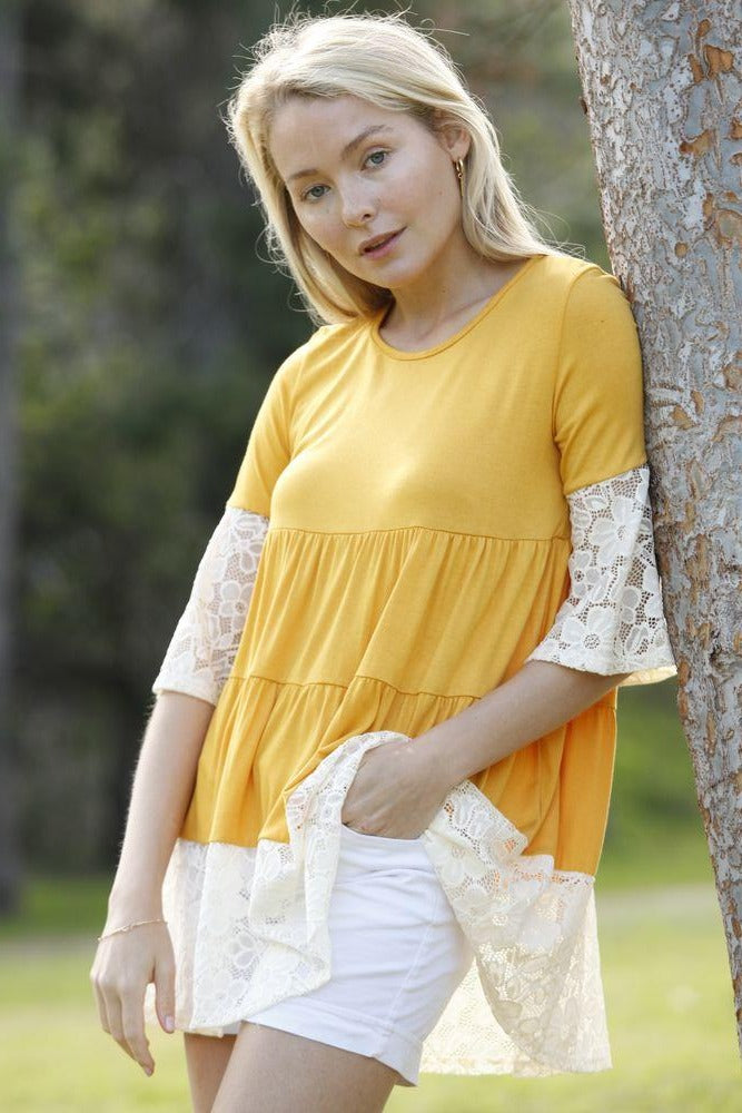 Mustard Tiered White Lace Ruffle Sleeve Tunic