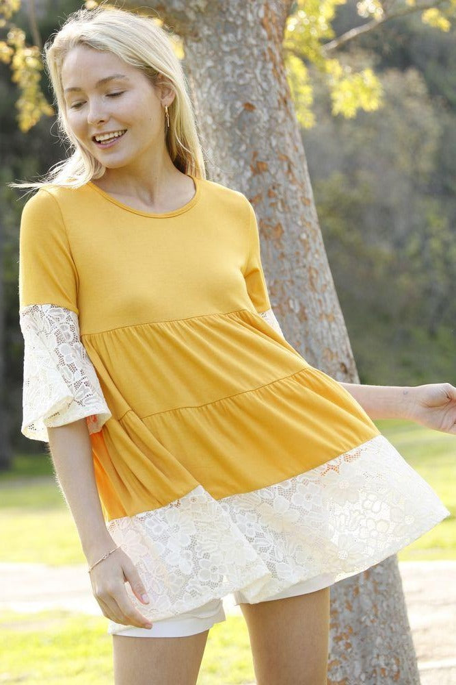 Mustard Tiered White Lace Ruffle Sleeve Tunic_Plus