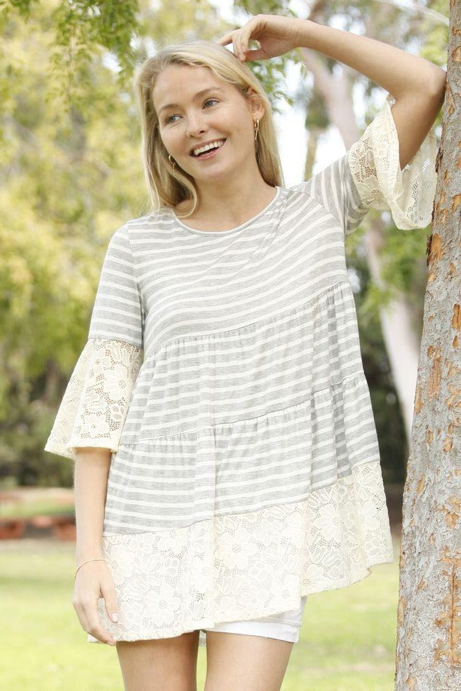 Grey Stripe Tiered White Lace Ruffle Sleeve Tunic_Plus