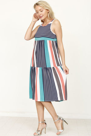 Teal & Coral Stripe Tiered Sleeveless Midi Dress_Plus