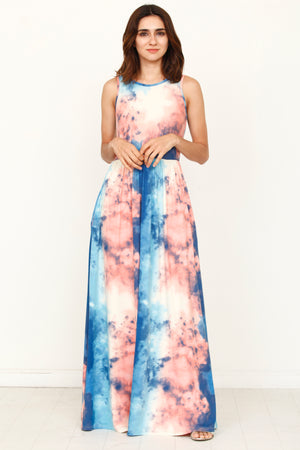 Ocean Tie Dye Sleeveless Maxi Dress