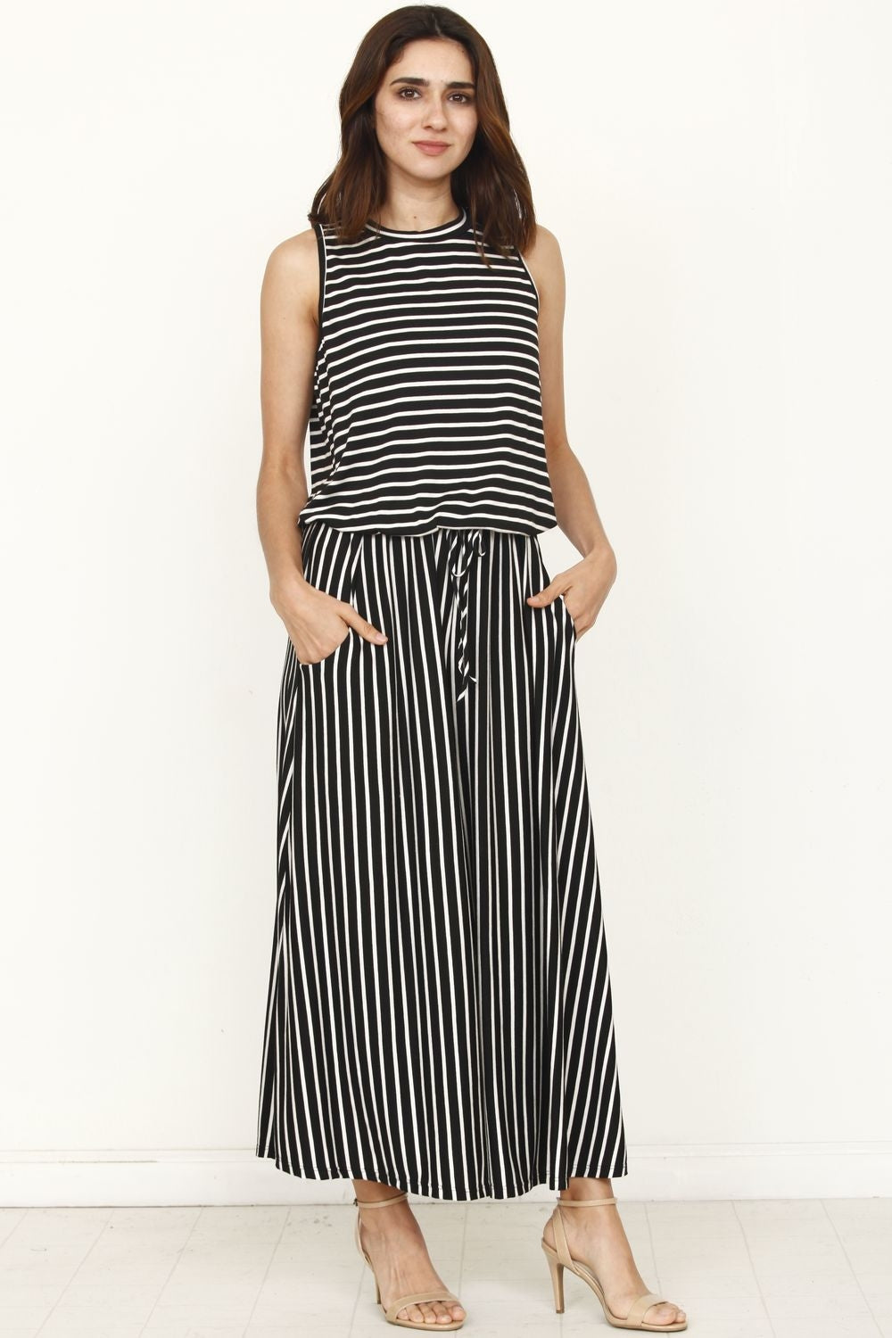Black Stripe Sleeveless Drawstring Cropped Jumpsuit