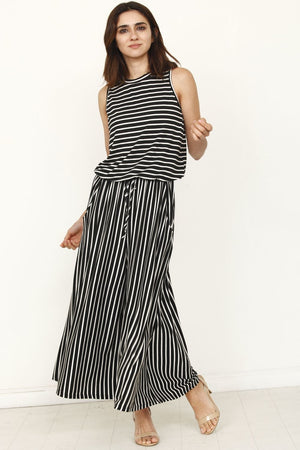 Black Striped Drawstring Cropped Jumpsuit