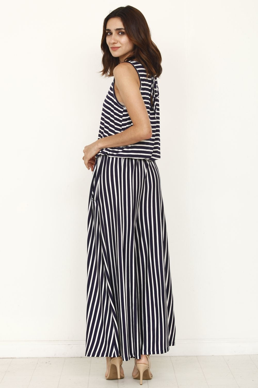 Navy Stripe Drawstring Cropped Jumpsuit