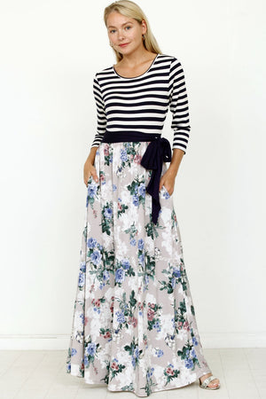 Navy Sash Cream Floral Maxi Dress