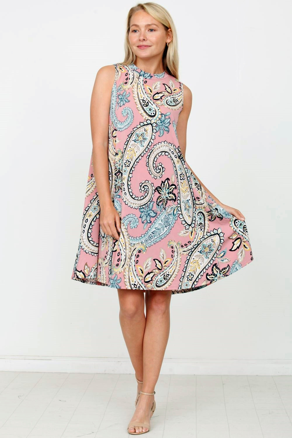 Dust Pink High Neck Paisley Dress