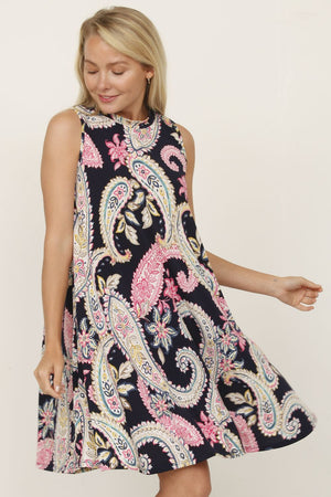 Navy High Neck Paisley Dress