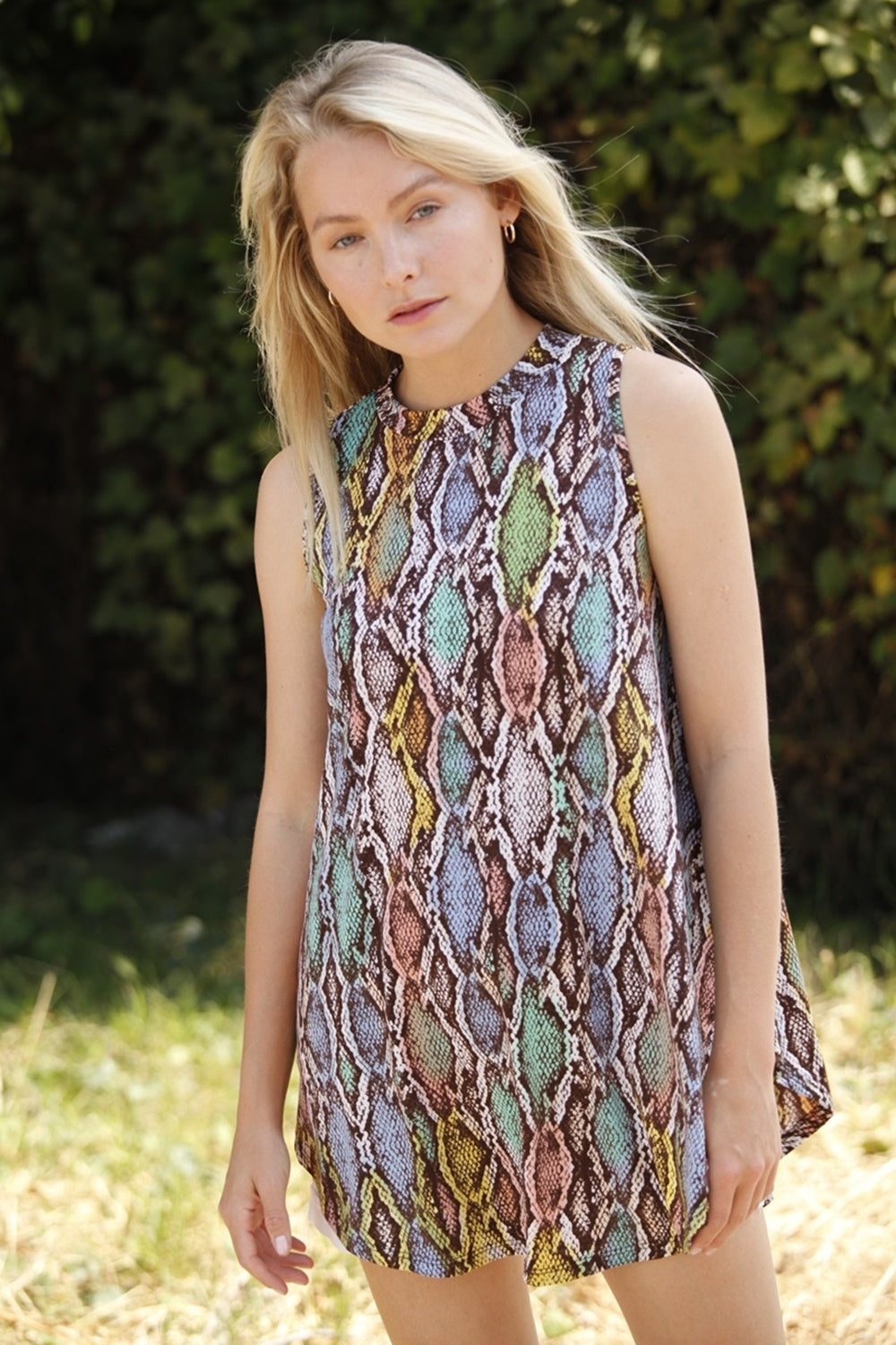 Multi Colored Python Print Back Gathered Tunic