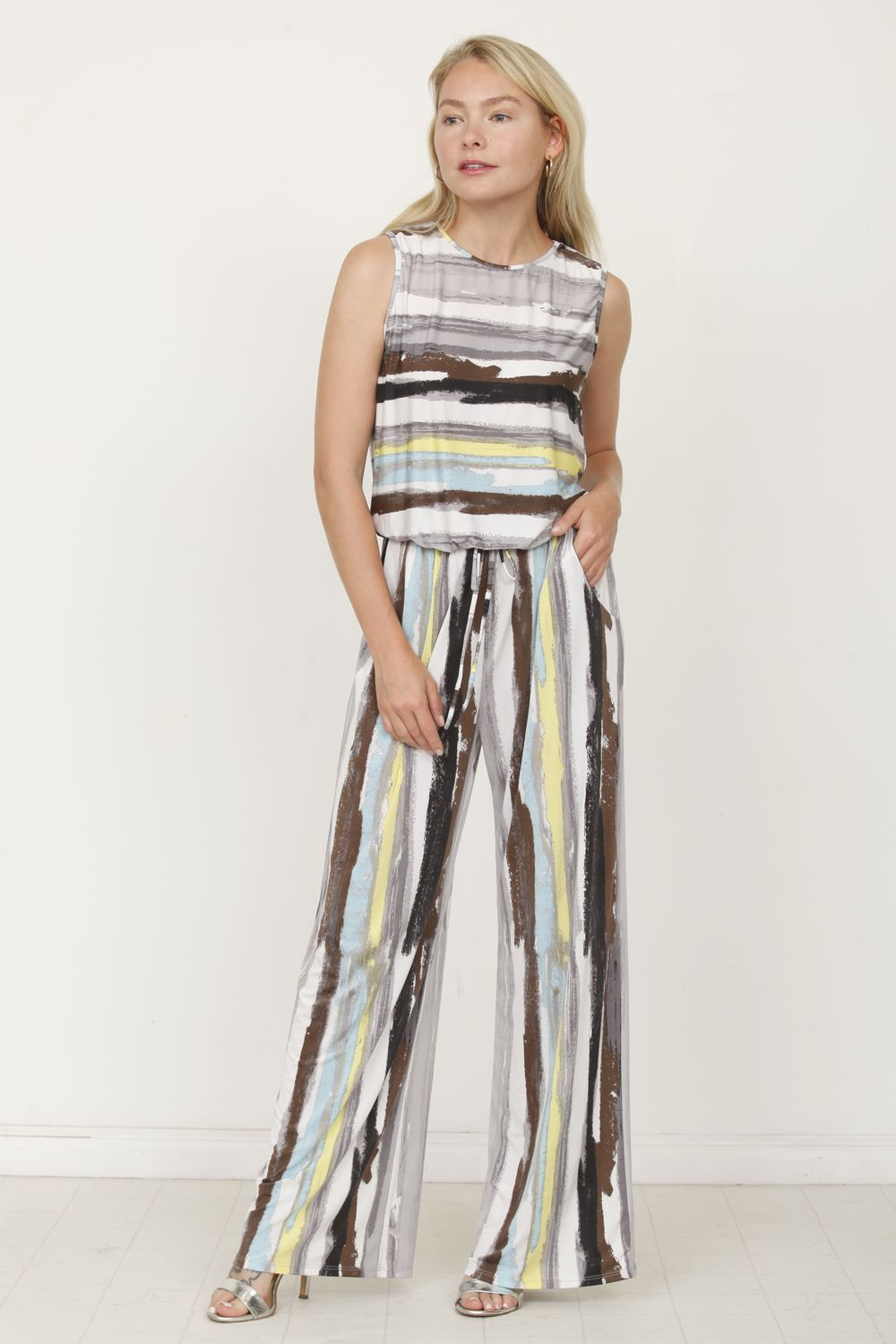 Grey & Mint Water Color Stripe Sleeveless Jumpsuit