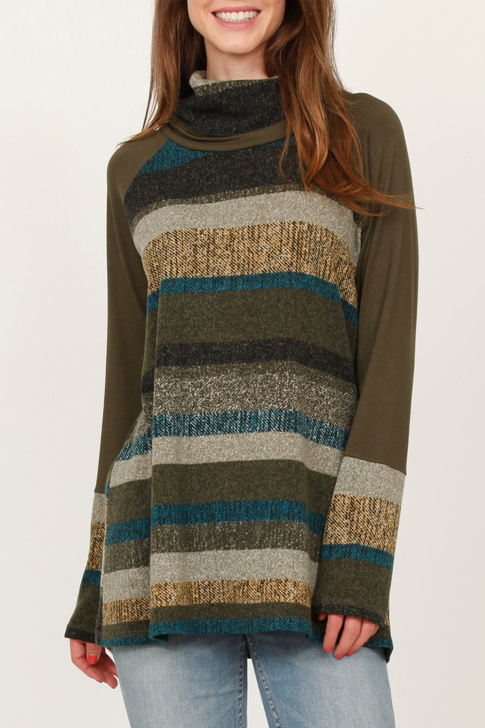 Olive Multi Stripe Cowl Neck Tunic